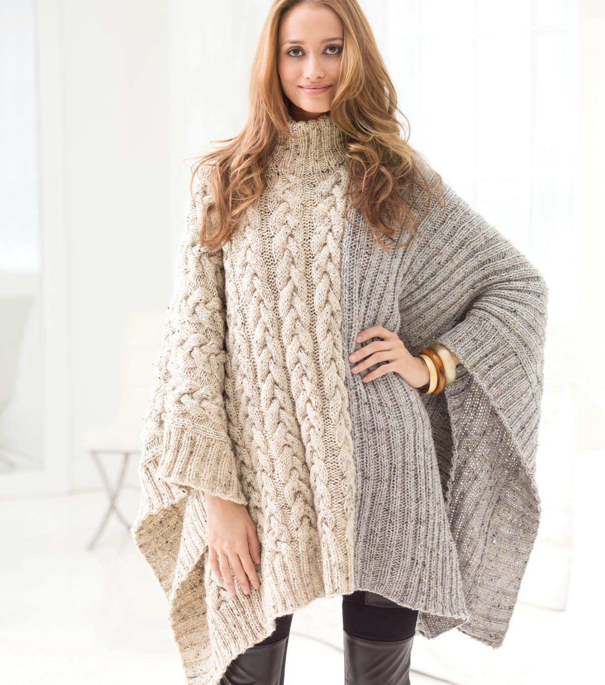 Chatsworth Cable Poncho | JOANN