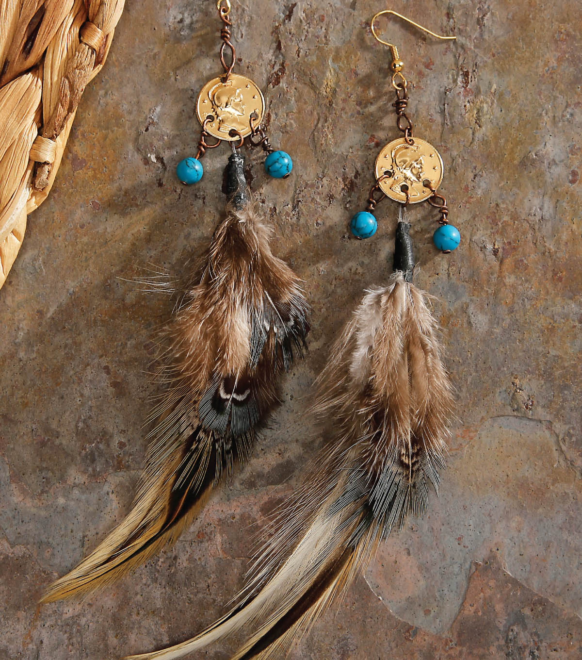 Beaded Charm Feather Earrings