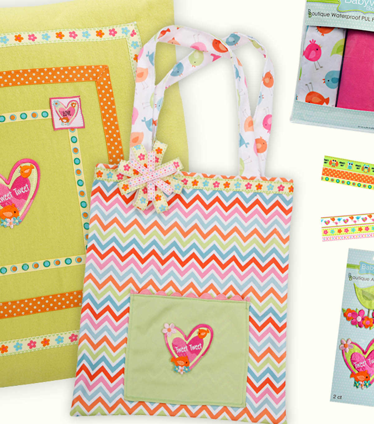 Babyville Boutique Chevron Print and Ribbon Tote