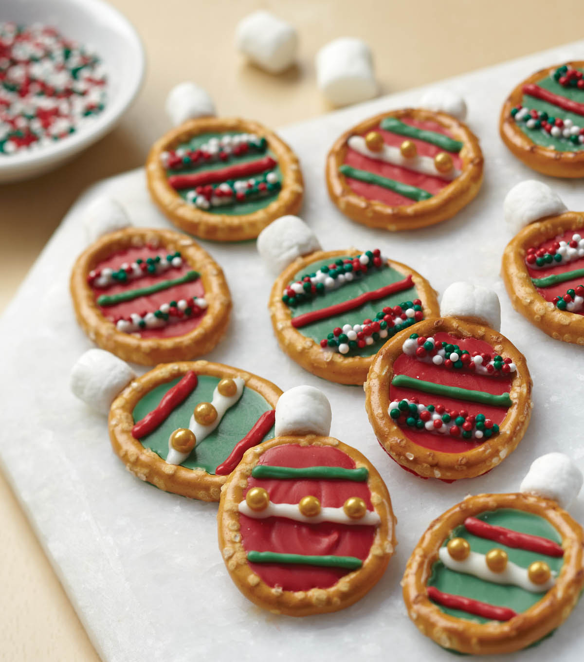 Easy Christmas Ornament Pretzel Treats
