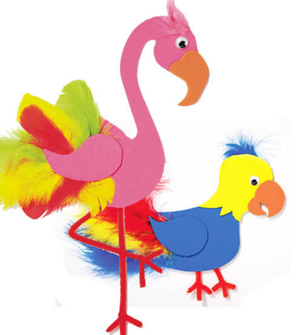 Foam Flamingo & Parrot