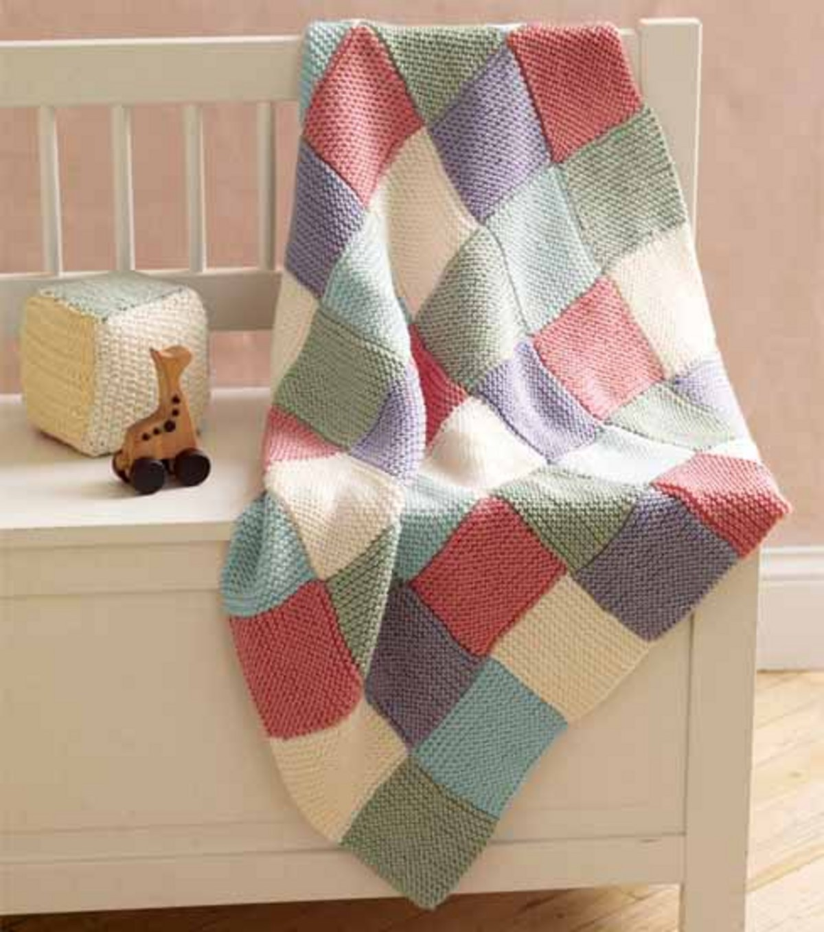 Loom Knit Patchwork Garter Baby Throw