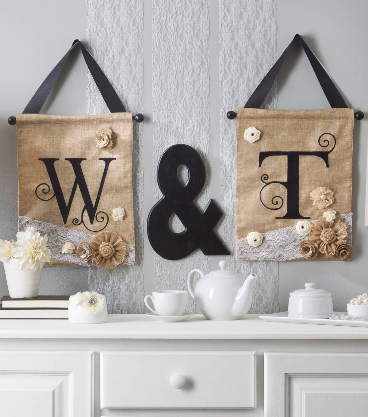 Embellished initial letters on burlap wall hangings | JOANN