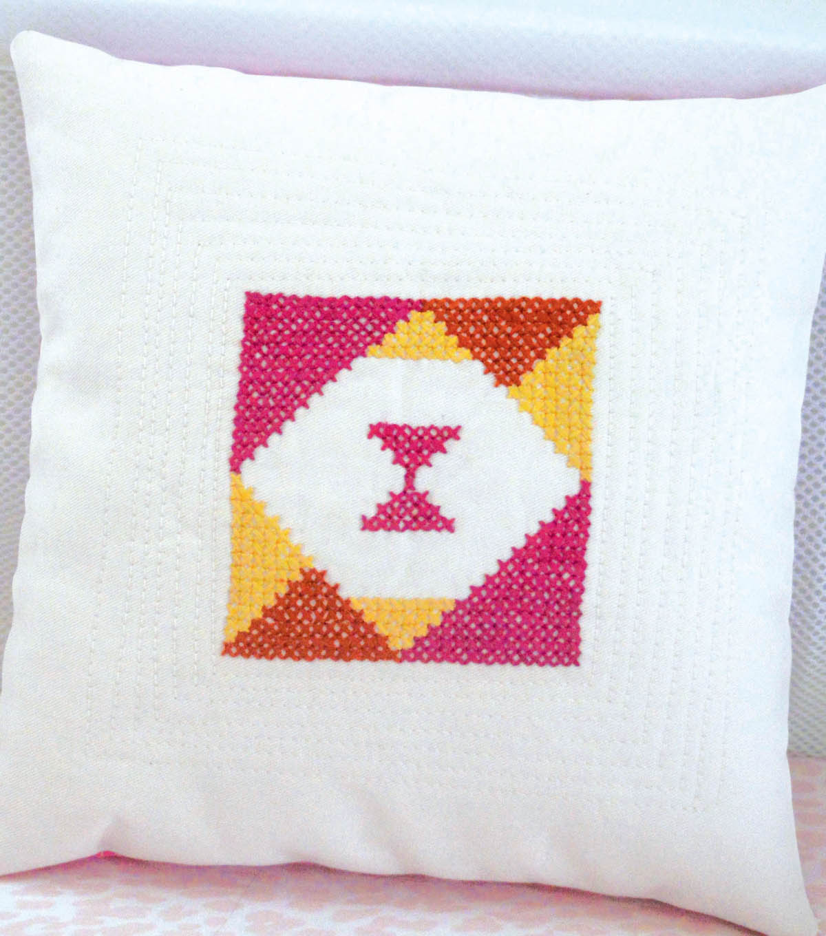 Cross Stitch Triangle Pillow