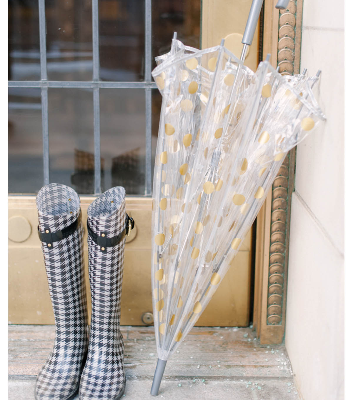 Metallic Polka Dot Umbrella