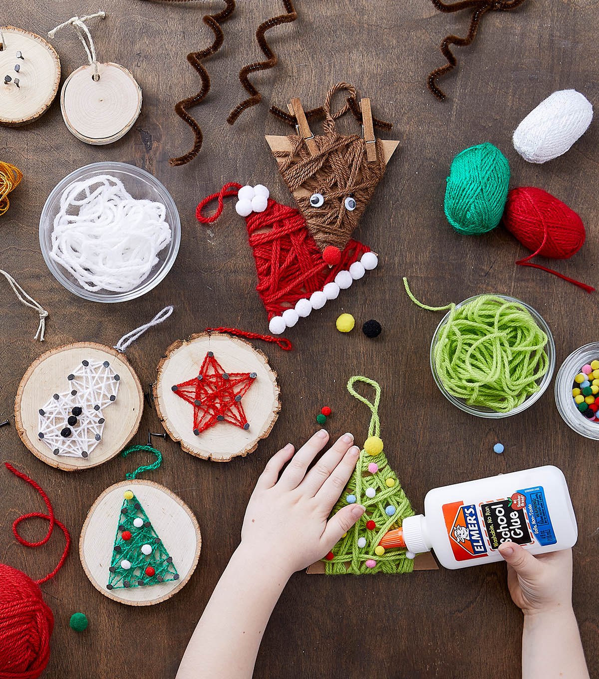 how to make yarn wrapped holiday ornaments - Joann Fabrics Christmas Decorations