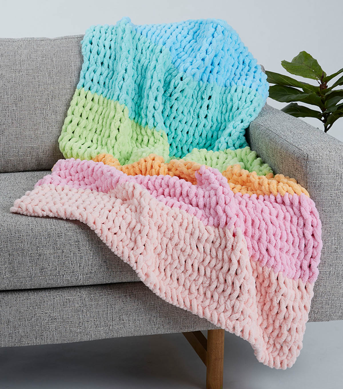 How To Make A Big Twist Loopity Loops Six Color Baby Blanket Joann