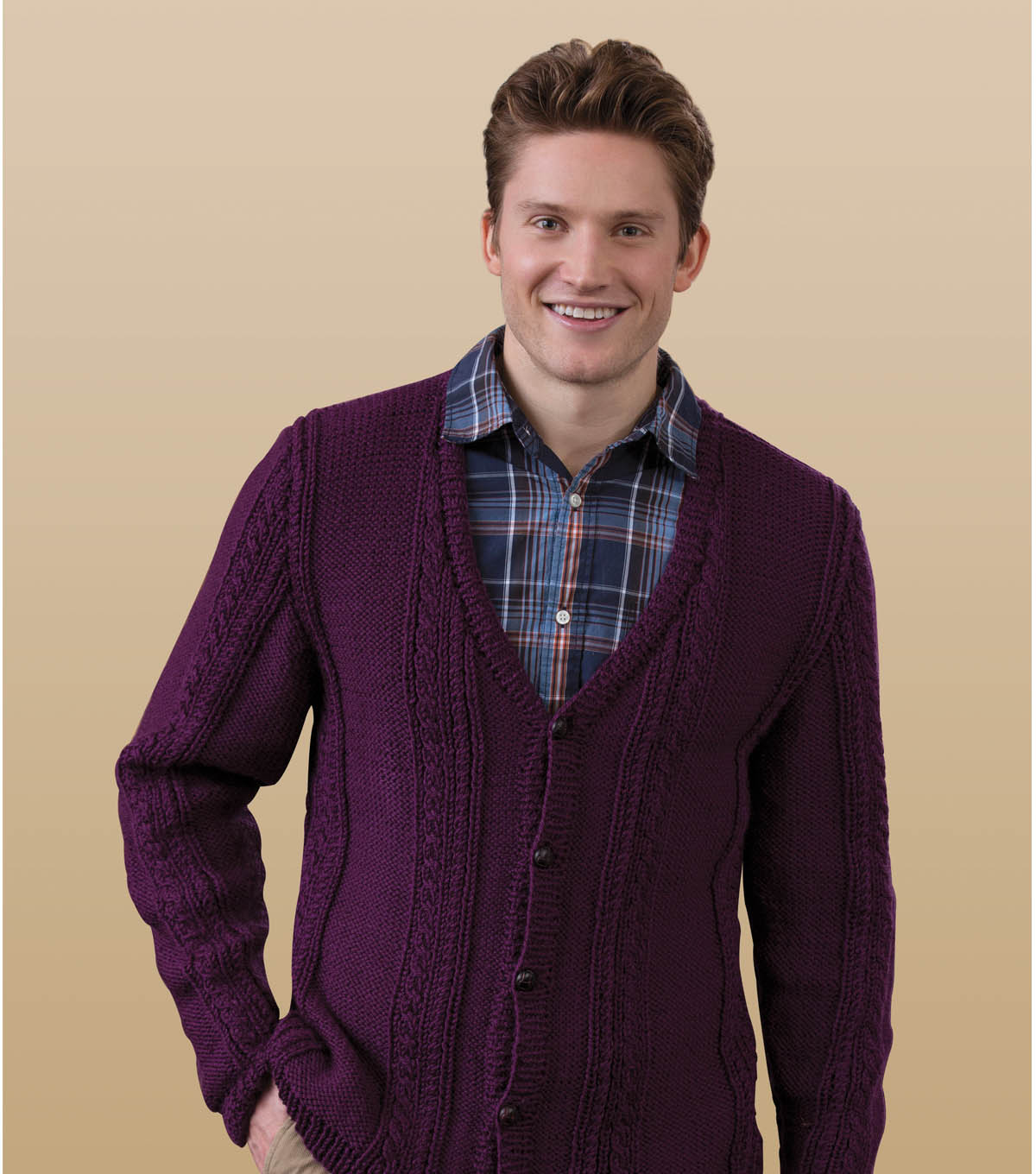 Men's V-Neck Cable Cardigan