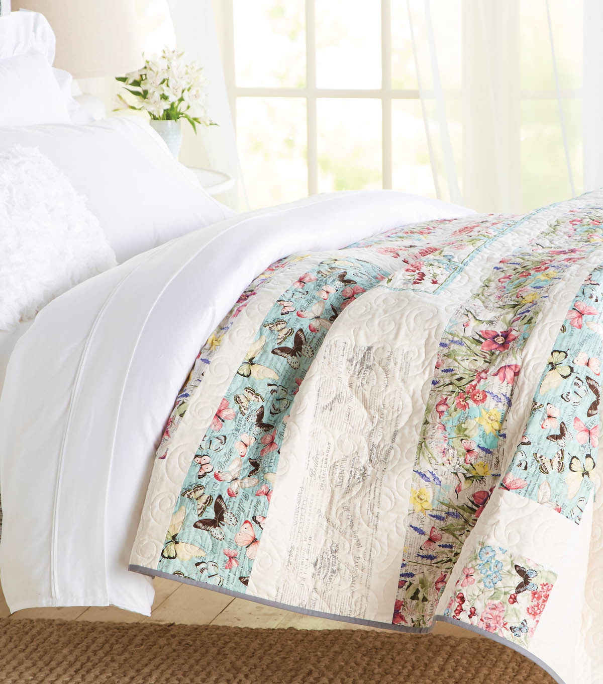 twin bedspread reversible quilt set print size shams coverlet cotton pin floral