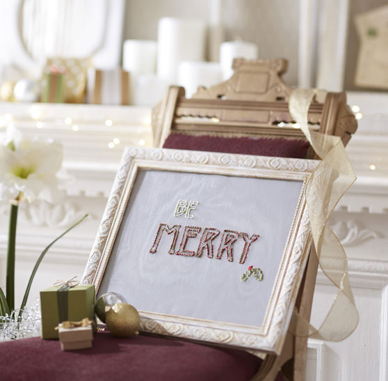 Be Merry Screen Embroidered Frame