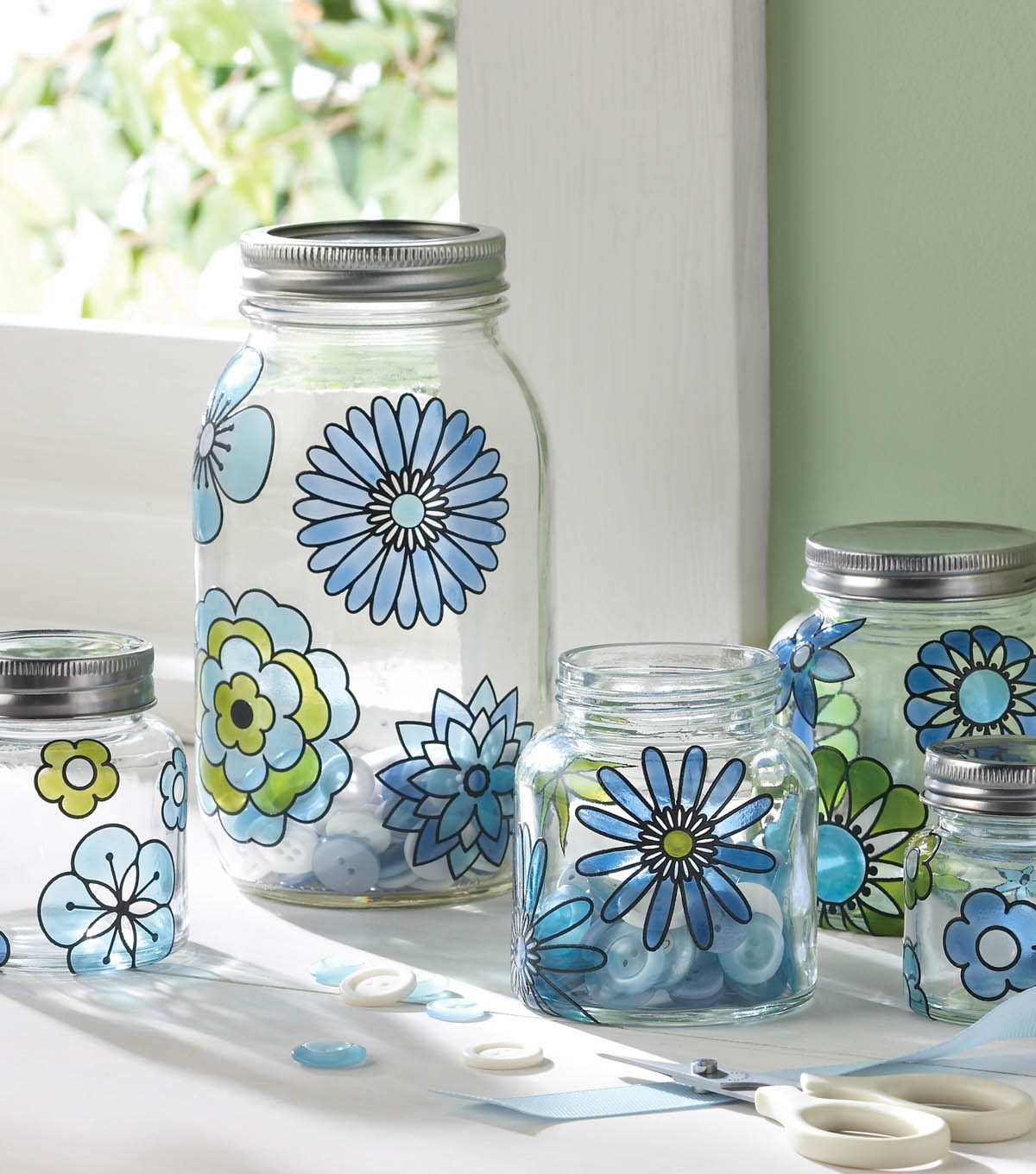 Modern Blossoms Glass Canister Set Martha Stewart JOANN