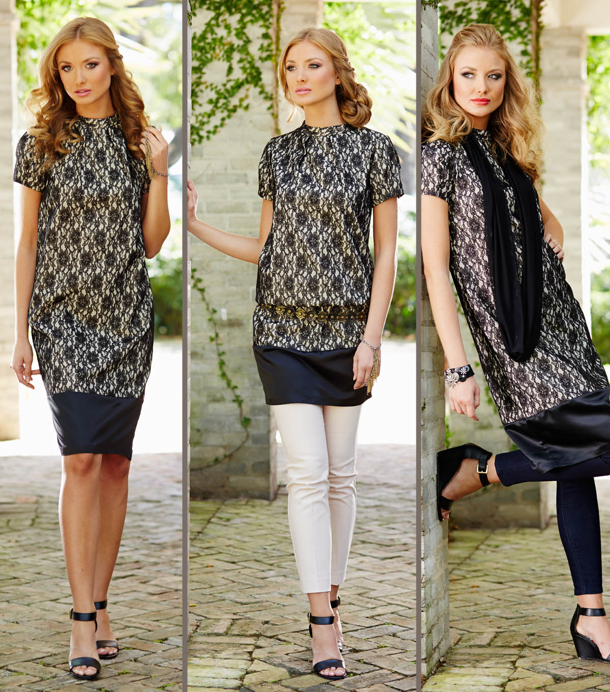 Cream and Black Lace Dress with Accessories | JOANN