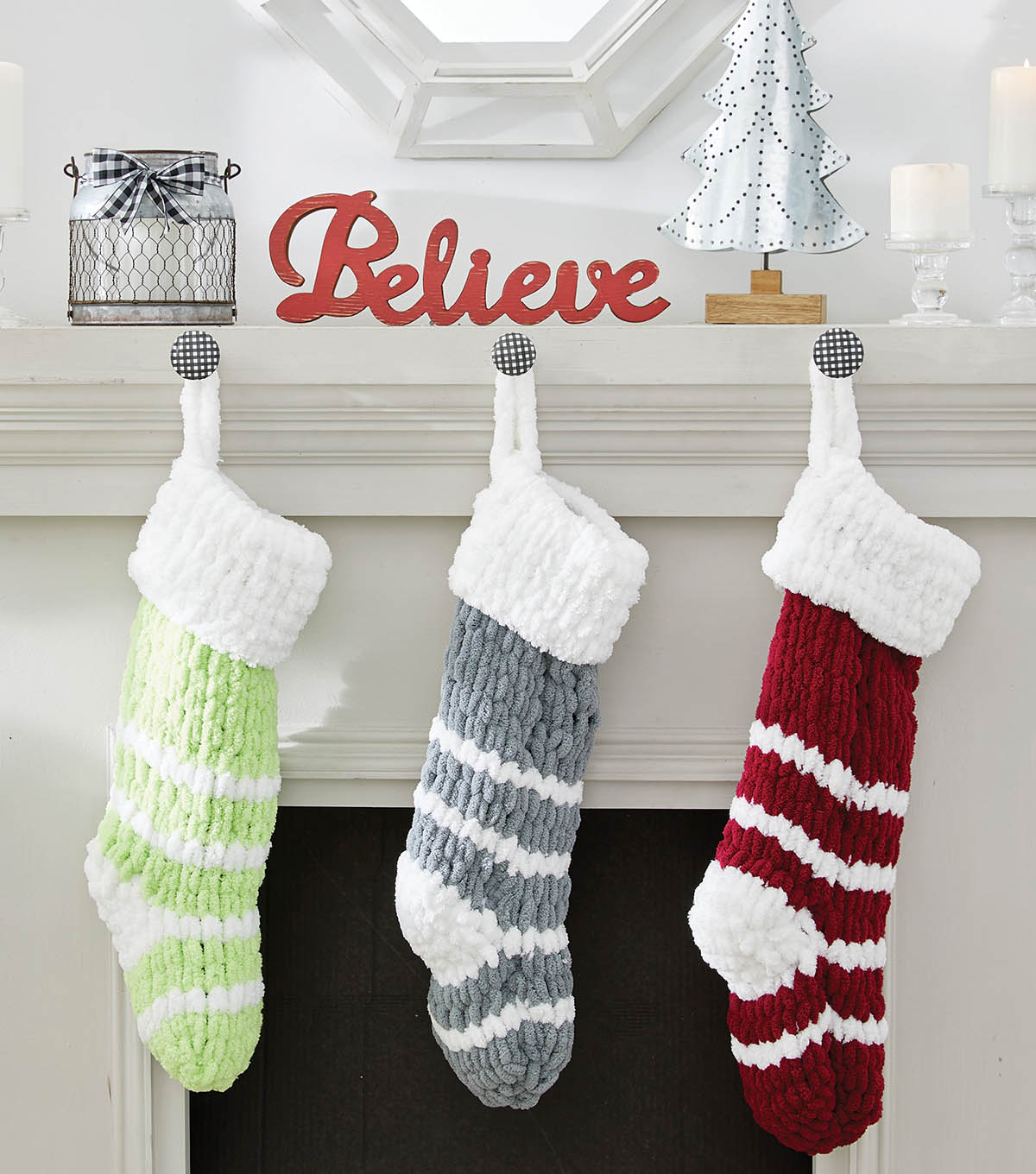 How To Make A Striped Knit Loopy Yarn Stocking Joann