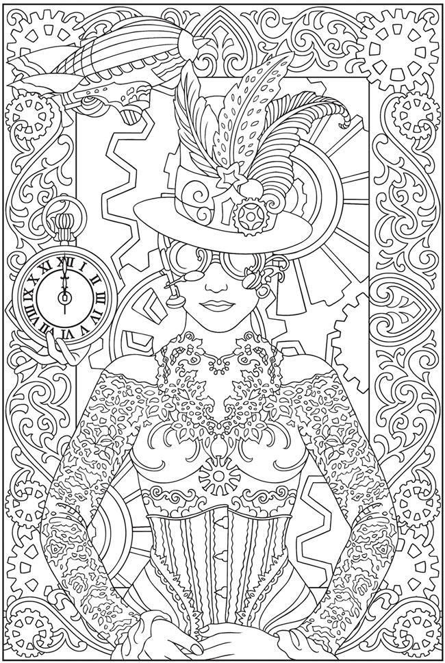 Dover Creative Haven Steampunk Designs Sample Coloring Printables ...