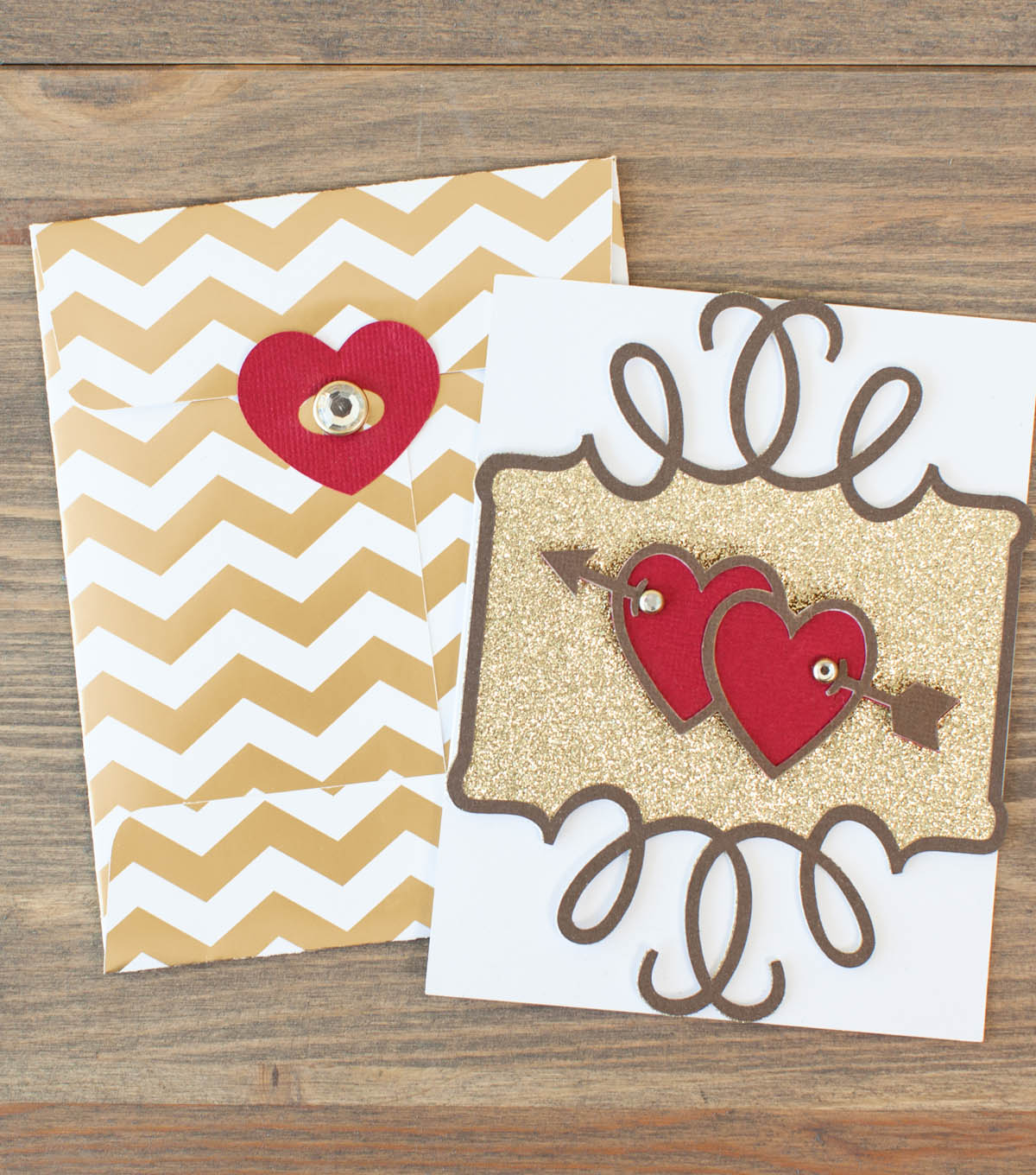 Gold Valentine and Envelope