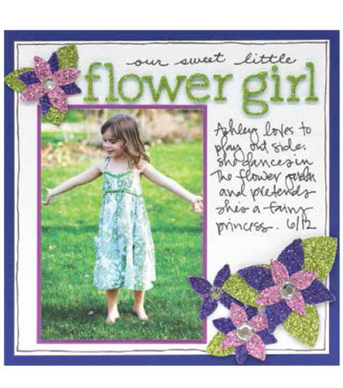Glitter Paper Layout - Flower Girl