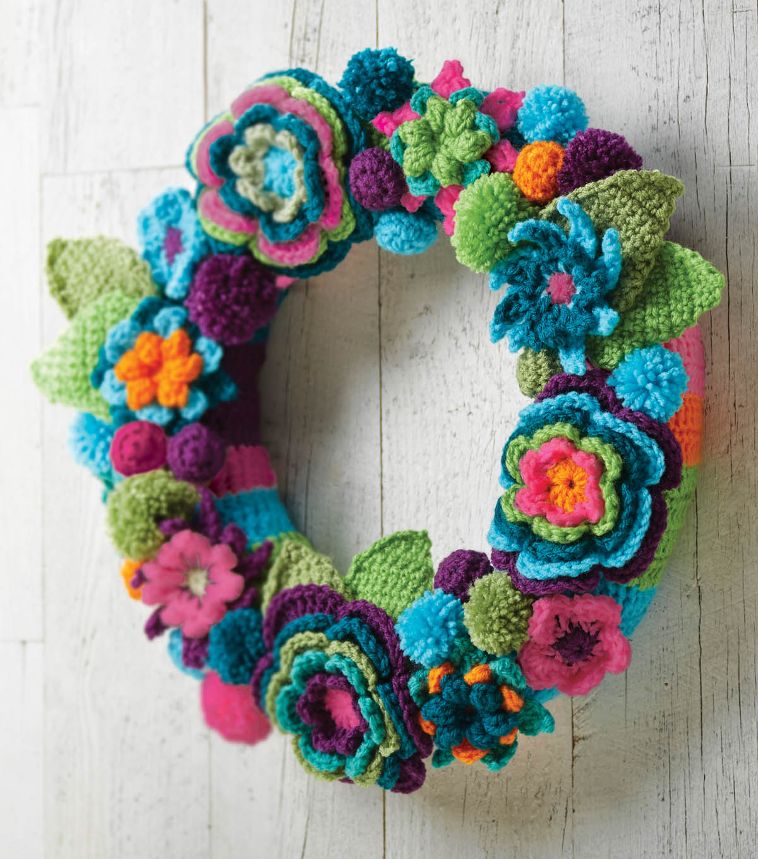 Crochet flower wreath joann crochet flower wreath izmirmasajfo
