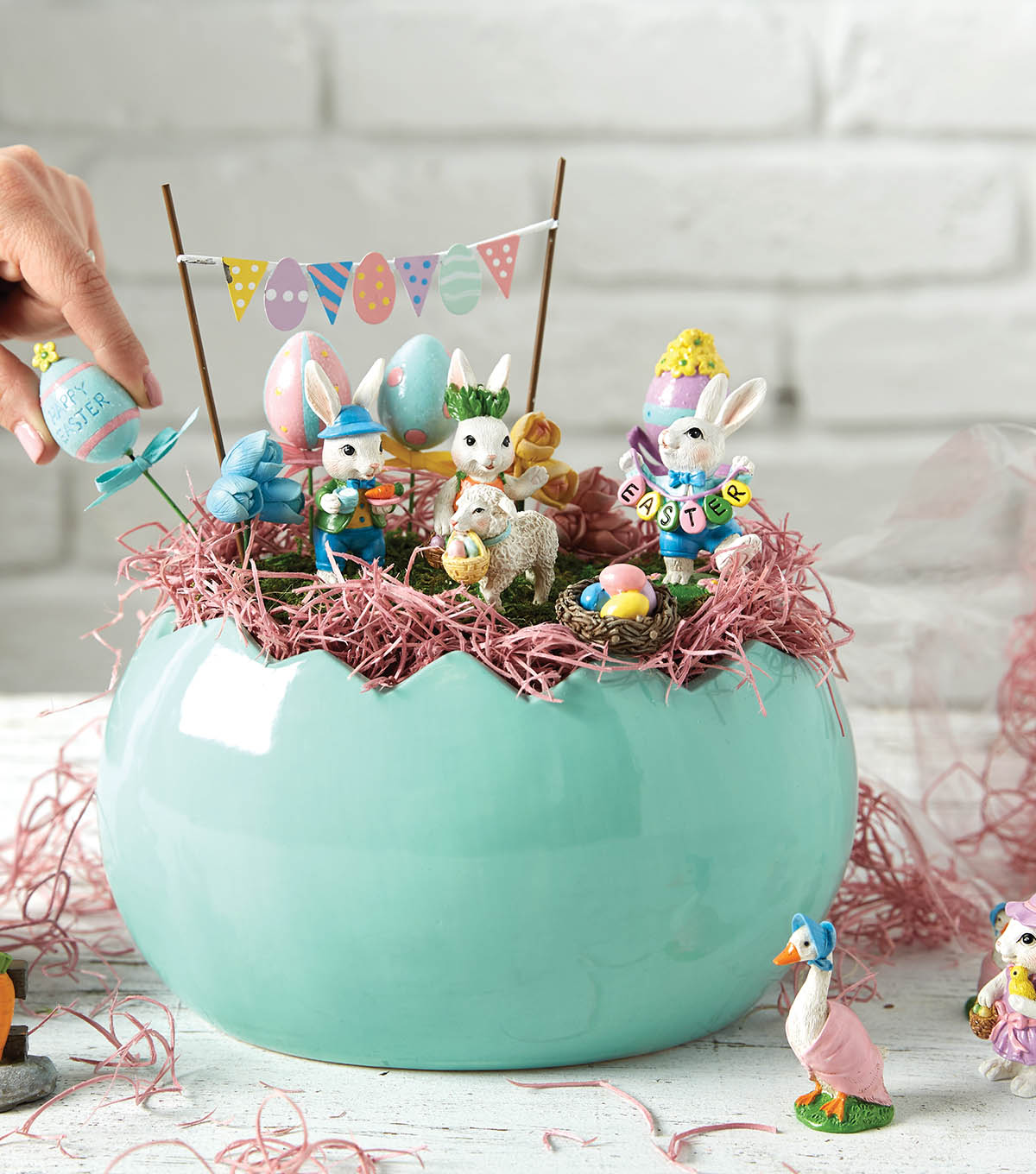 How To make An Easter Fairy Garden in Ceramic Egg
