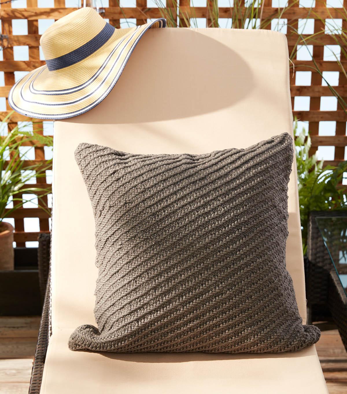 how to make a bernat maker outdoor diagonal texture knit pillow joann
