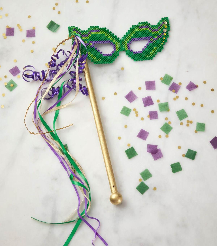 Mardi Gras Mask Iron On Applique Purple Sequins Embellish Craft Projects
