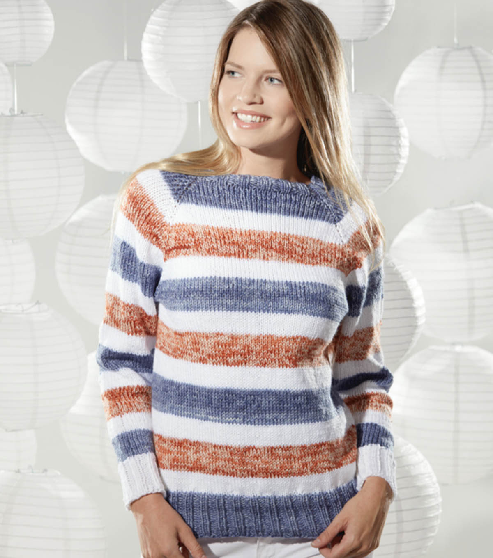 46f8f66657de1 Knit A Striped Raglan Pullover