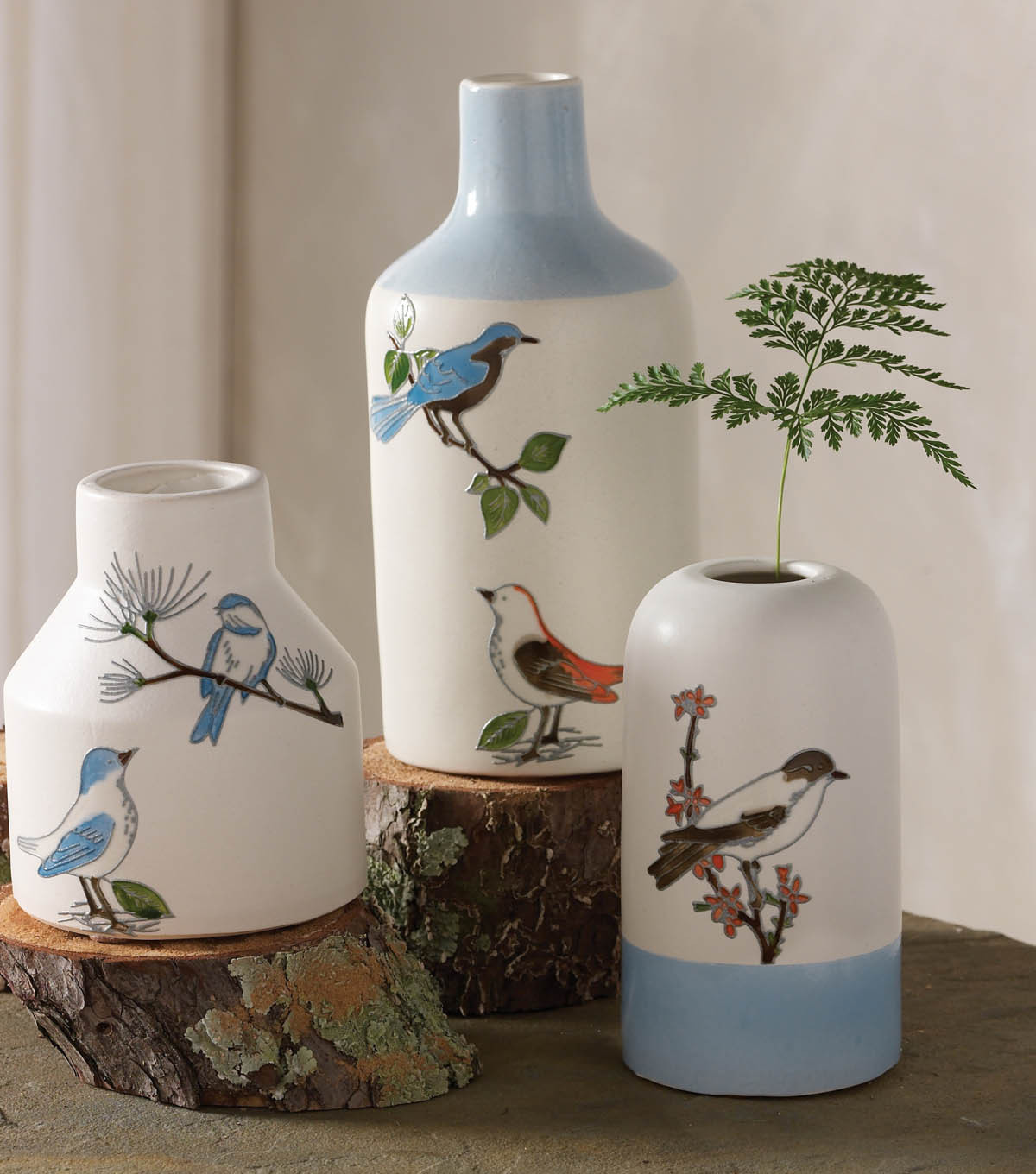 Woodland Bird Clings on Vases