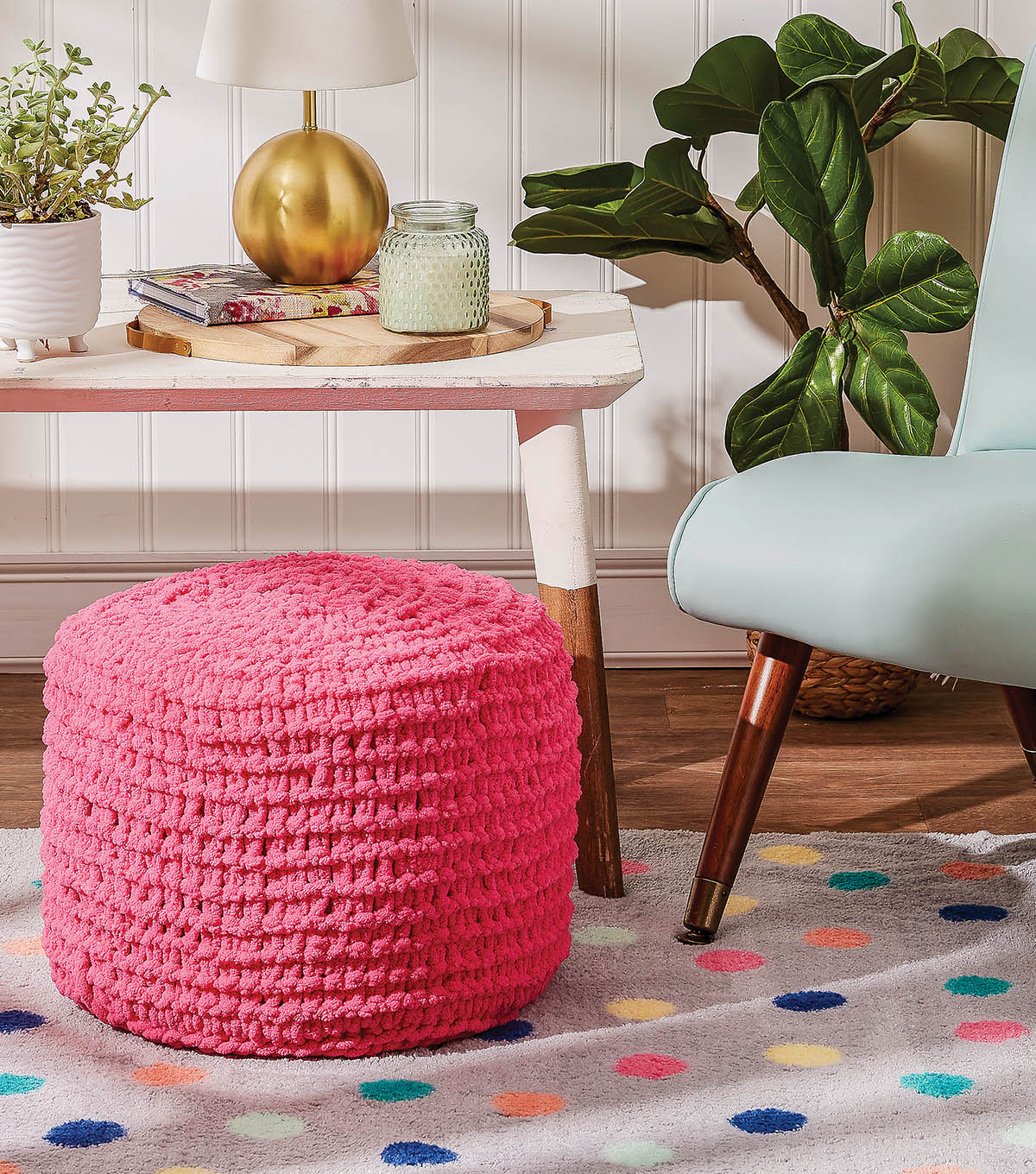 How To Make an Off the Hook Pink Ottoman Pouf | JOANN