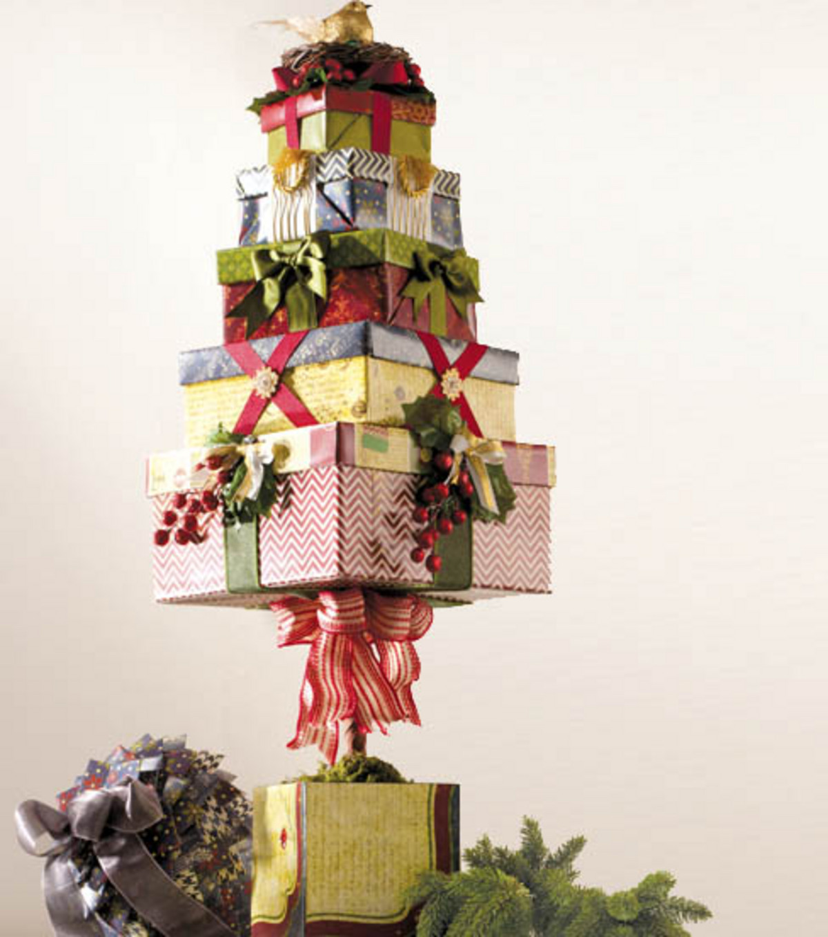 stacked christmas box home decor