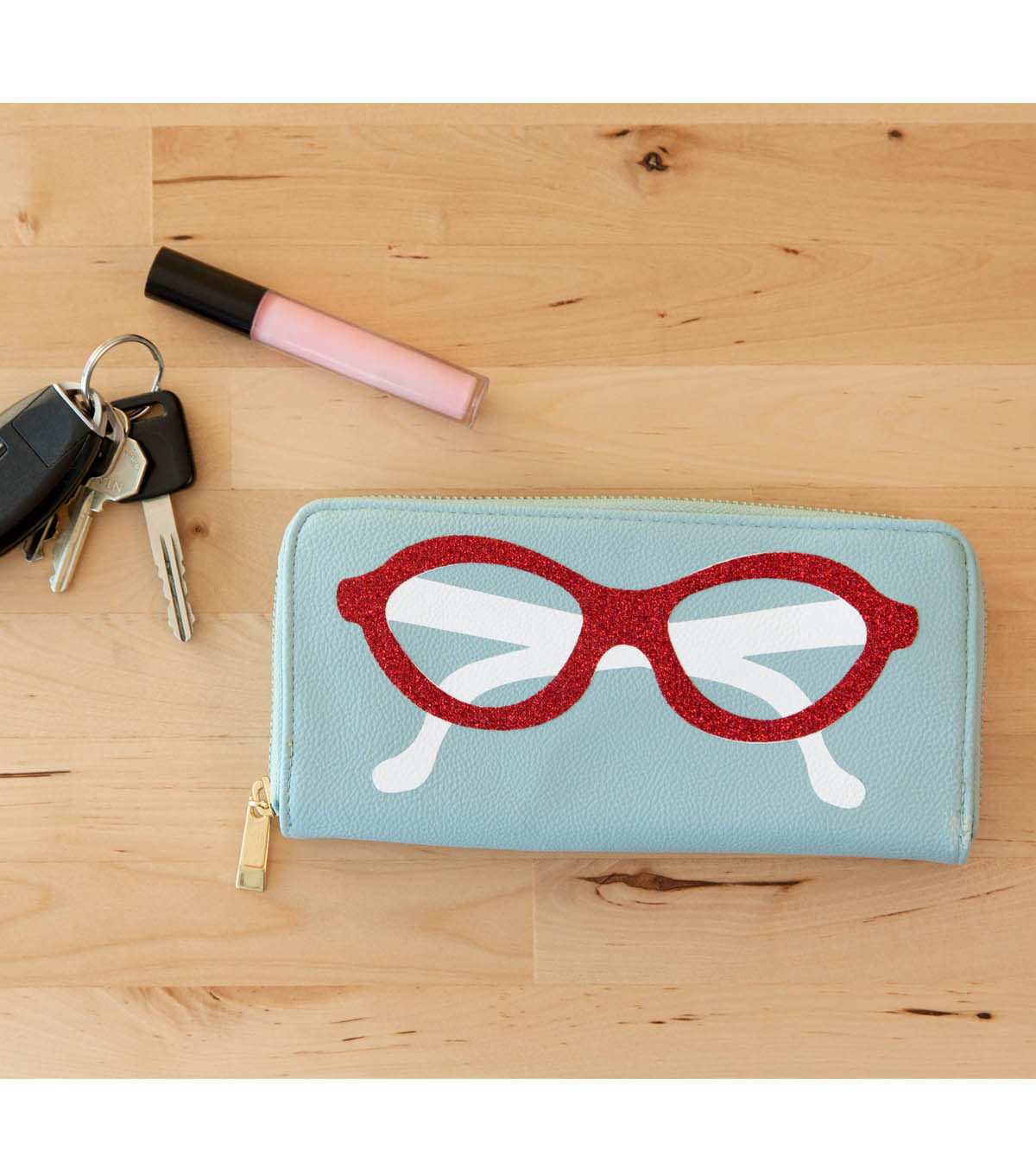 Red Glitter Iron On Sunglasses Wallet