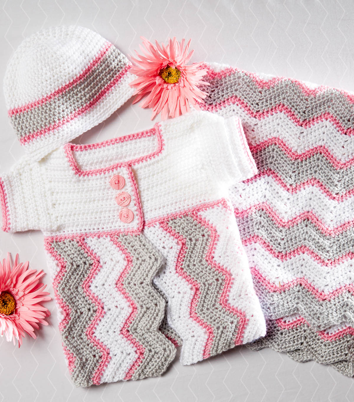 How To Crochet A Chevron Baby Blanket, Cap, & Cardigan | JOANN
