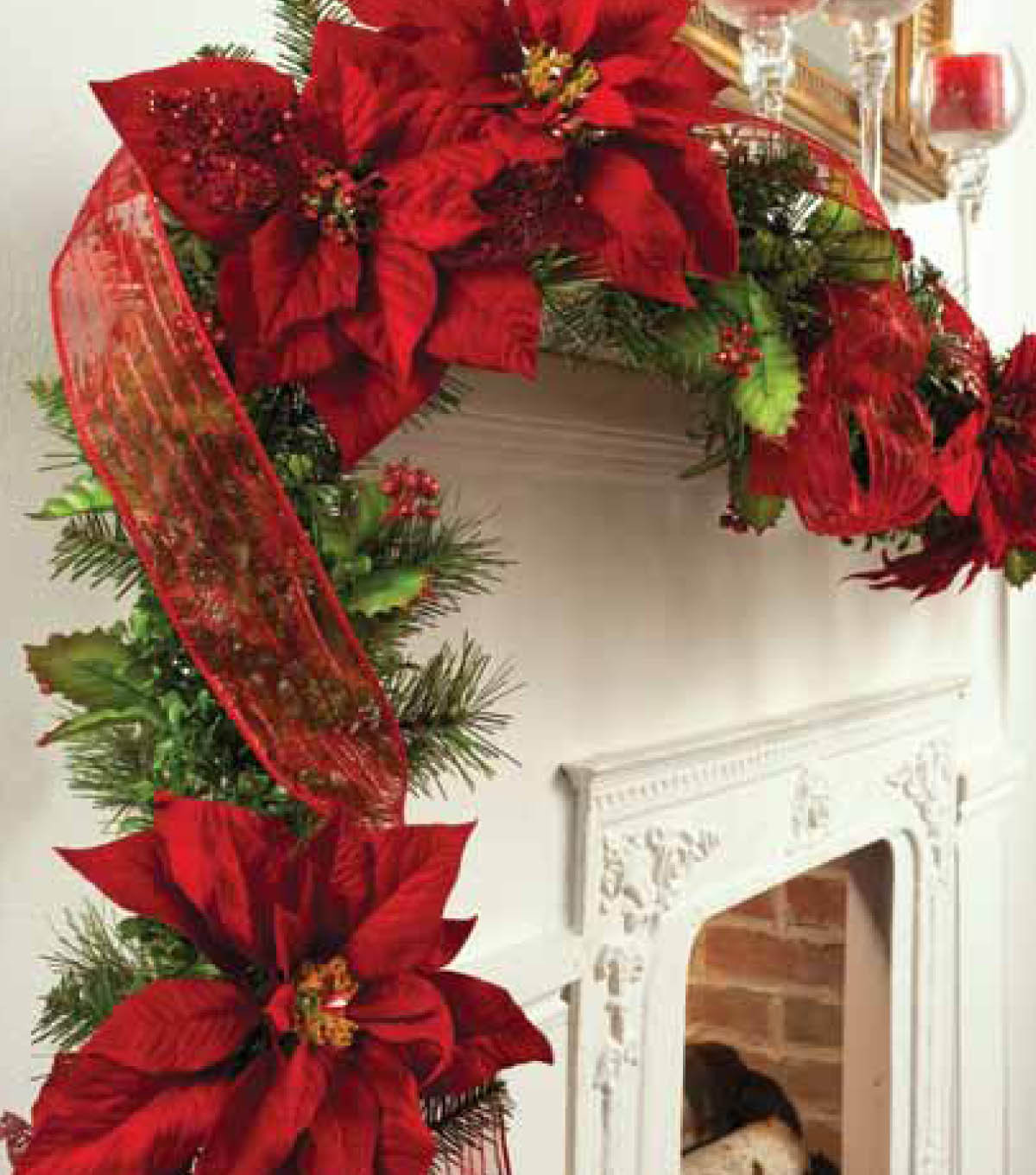 Garland Trimmed with Poinsettia Clips