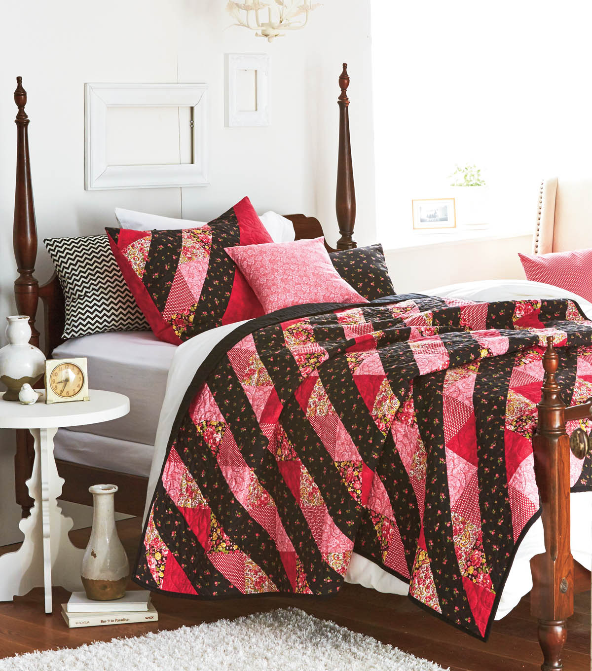 Rose and Black Stripe Quilt