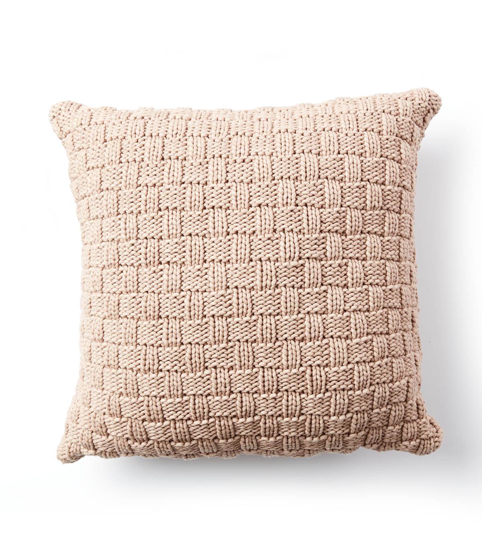 how to make a bernat maker outdoor basketweave knit pillow joann