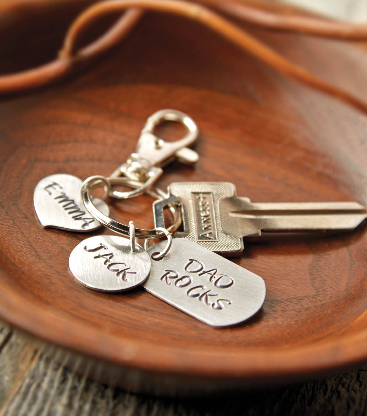 Hand Stamped Dad Keychain