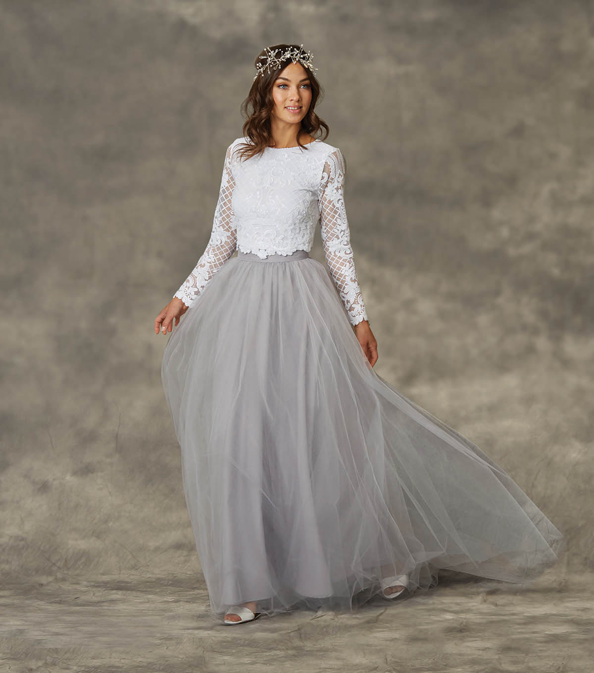 How To Make a Grey Tulle 2 piece Wedding Dress