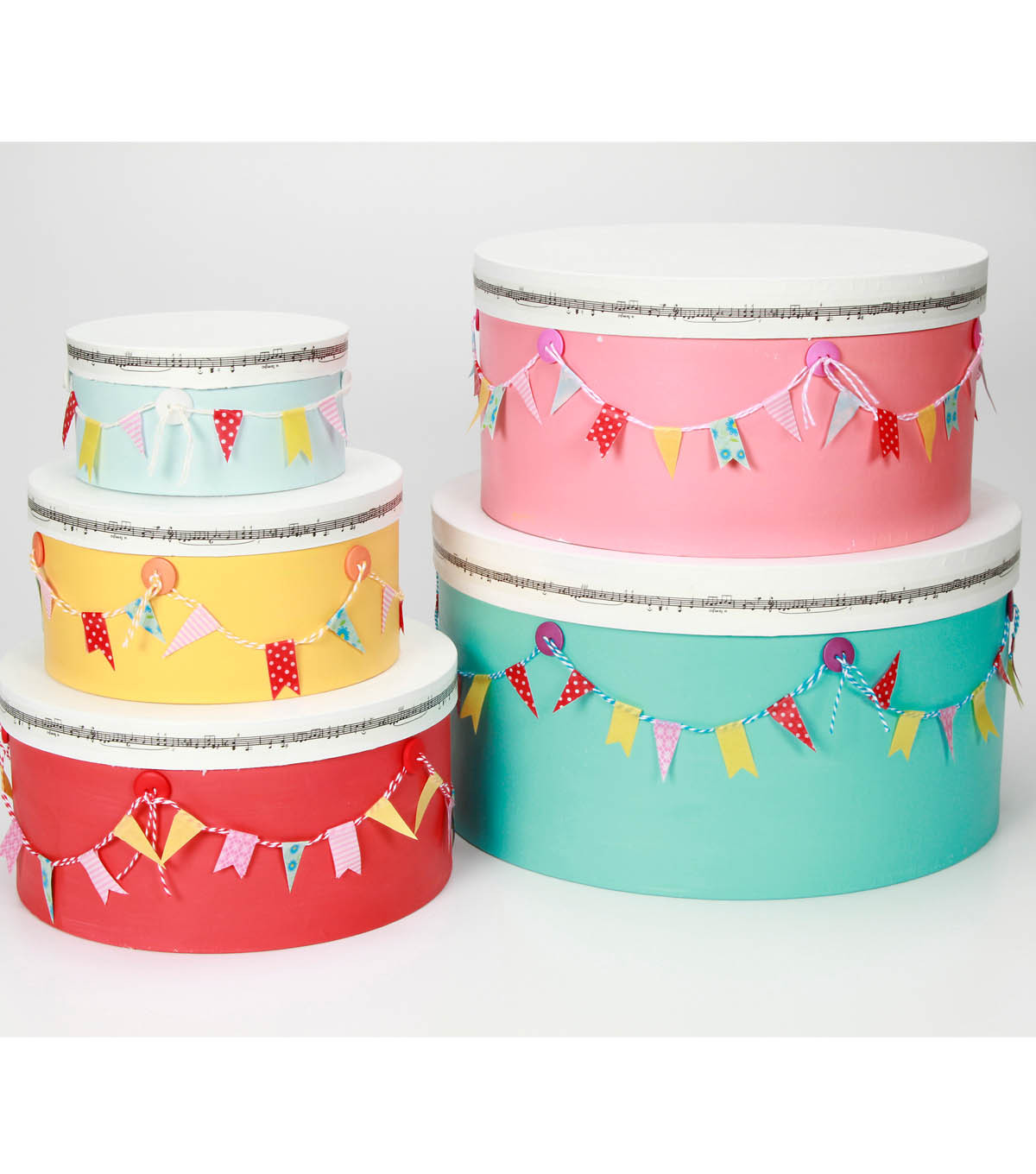 Colorful Boxes with Washi Bunting